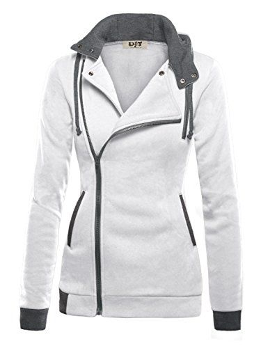 1db93d283efe DJT Womens Oblique Zipper Slim Fit Hoodie Jacket Large White * Check ...