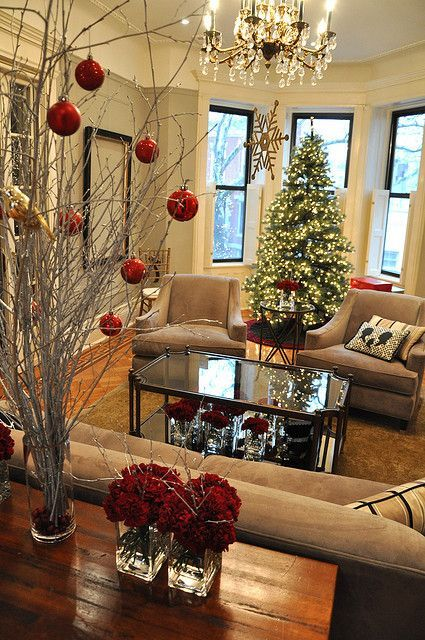 Spray Paint Branches White Put In Tall Vase And Hang Red Balls Very Simple And So Pretty Christmas Christmas Diy Christmas Decorations