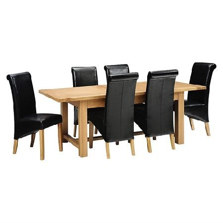 Light Oak 180-220-260cm Ext. Table and 6 Black Quality wooden furniture at great low prices from PineSolutions.co.uk. Get Free Delivery and Exchanges on all orders. http://www.MightGet.com/january-2017-11/light-oak-180-220-260cm-ext-table-and-6-black.asp