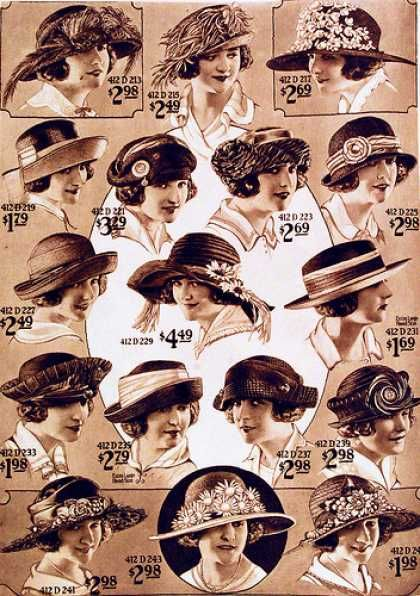 011058492 Downton Abbey Hats : Ladies hats from 1922 spring/summer collection. #  DowntonAbbey