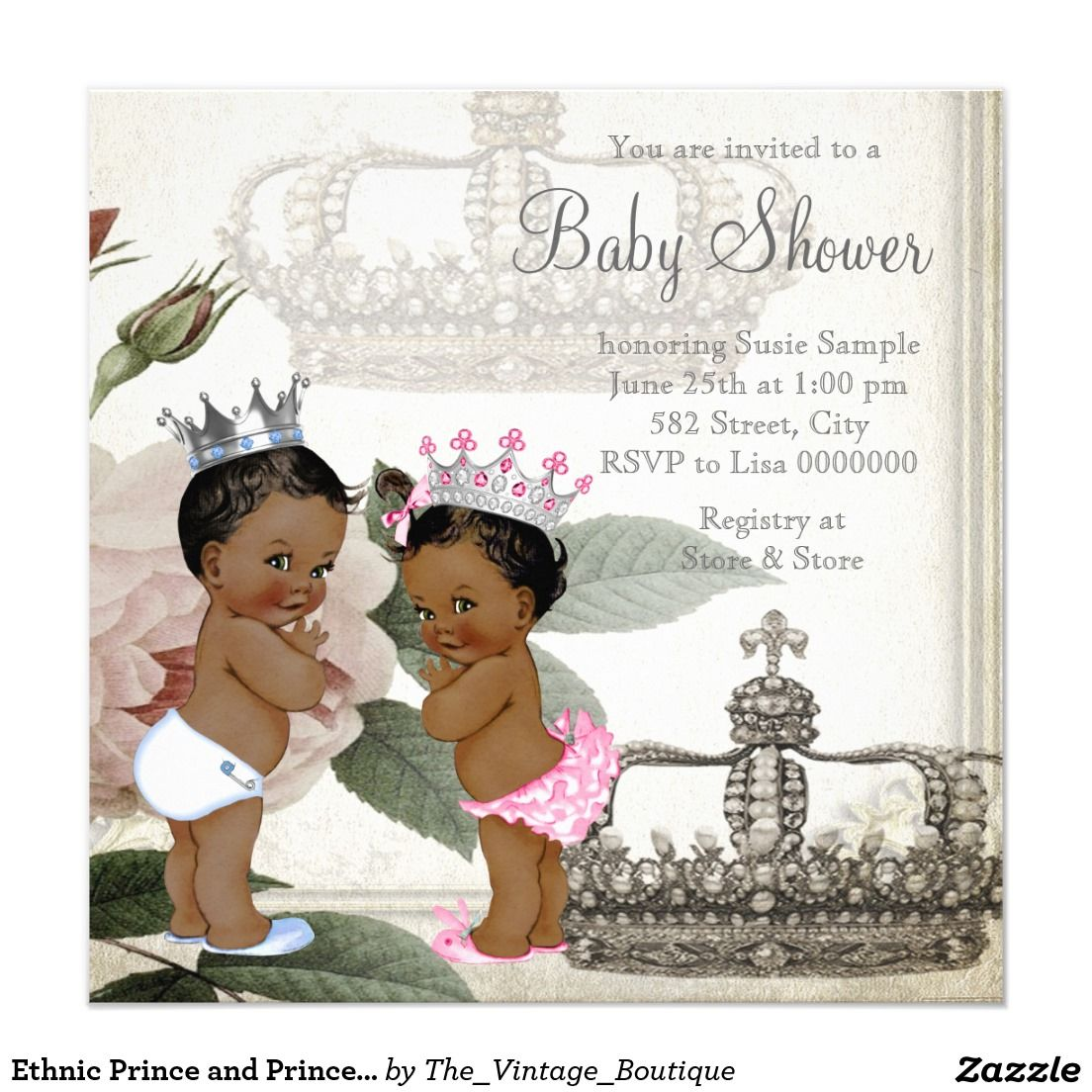 Ethnic Prince and Princess Twin Baby Shower Card | Shower ...
