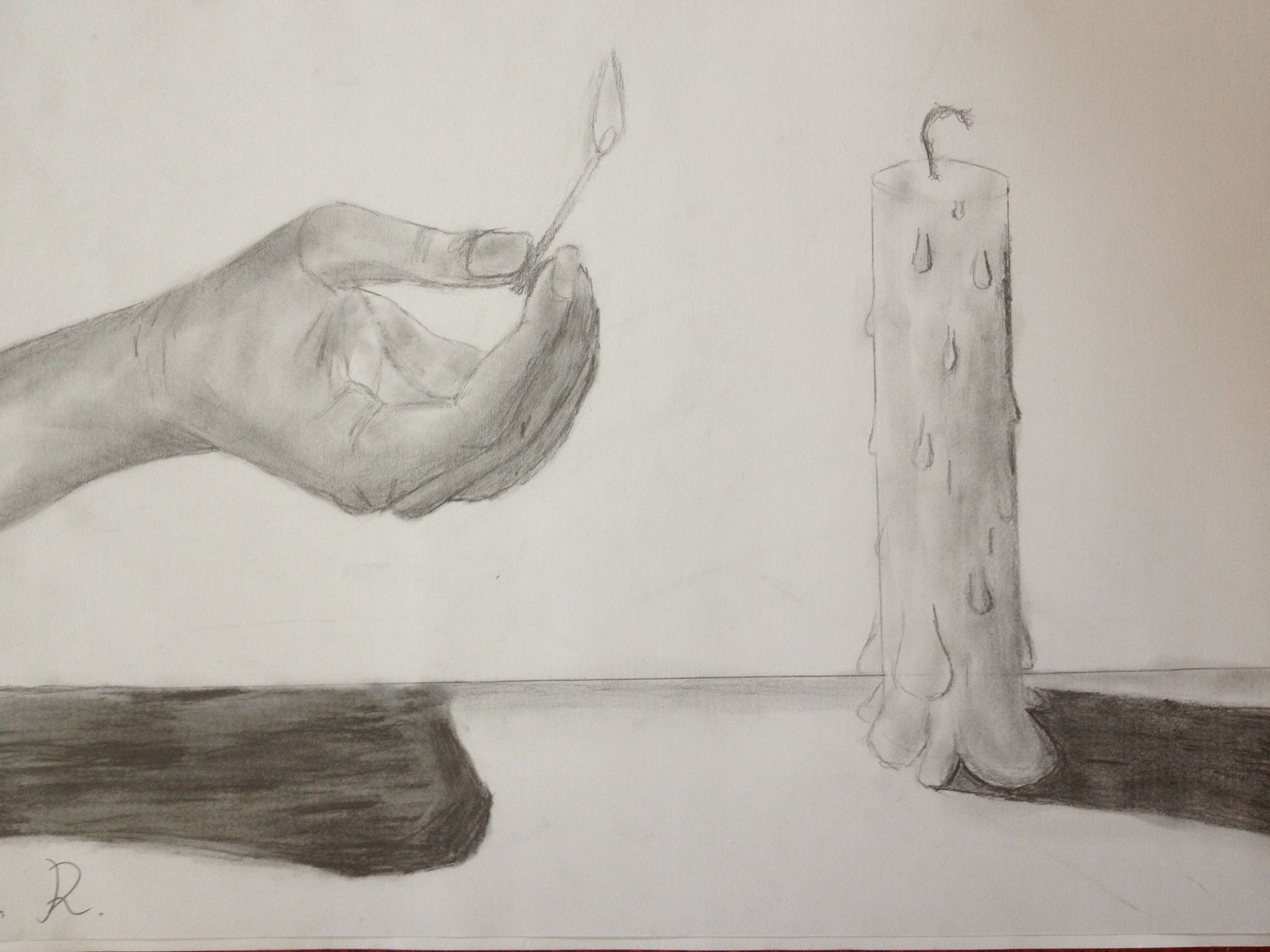 Candle Impressive Pencil Drawing by Noah R a 10 year old child