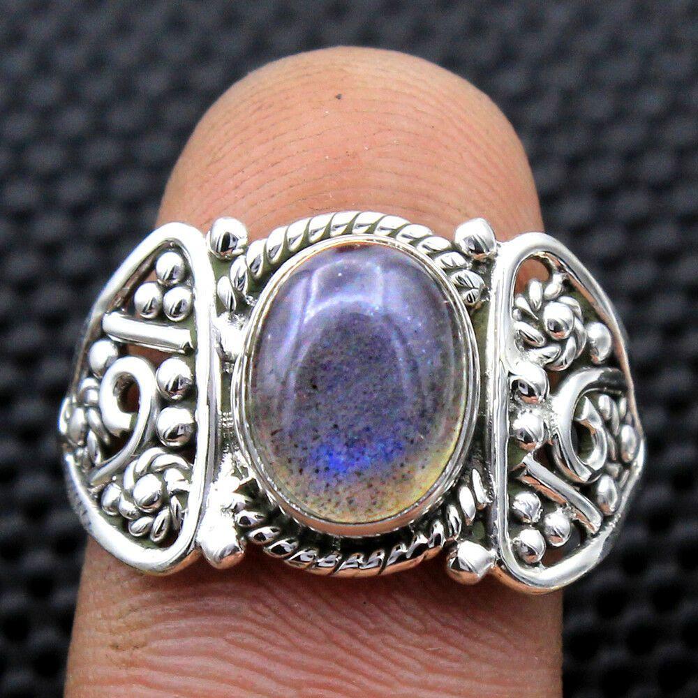 "Natural Labradorite Gemstone 925 Sterling Silver Jewelry Unisex Bracelet 7.5/"""