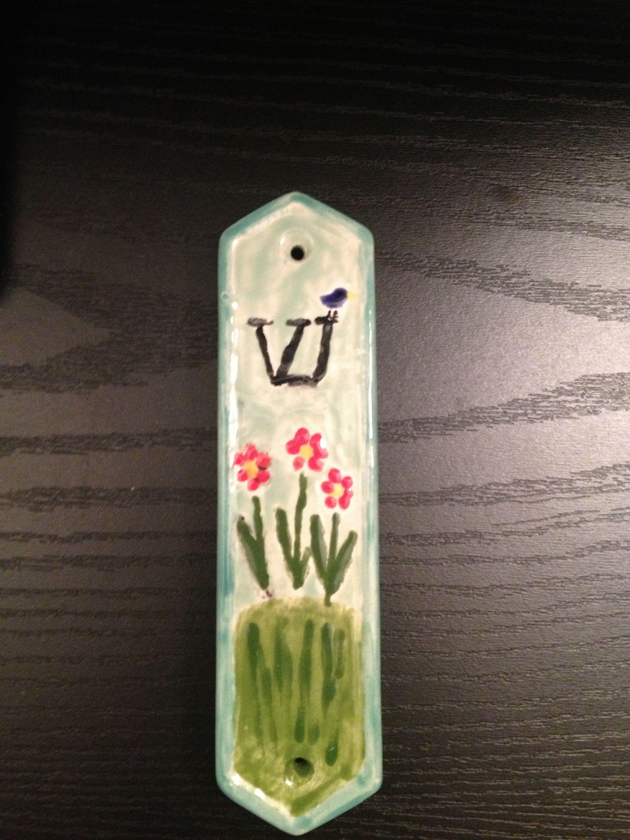 Hand painted mezuzah