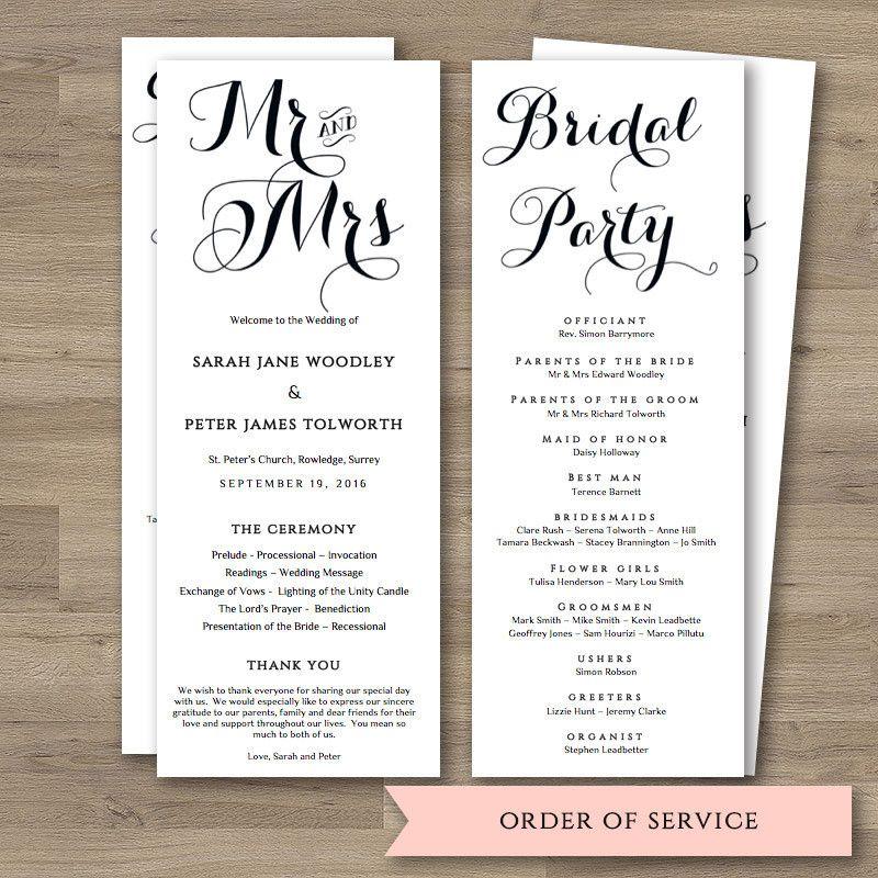 Byron Printable Wedding Order Of Service Template Wedding Order - Wedding invitation templates: wedding order of service template