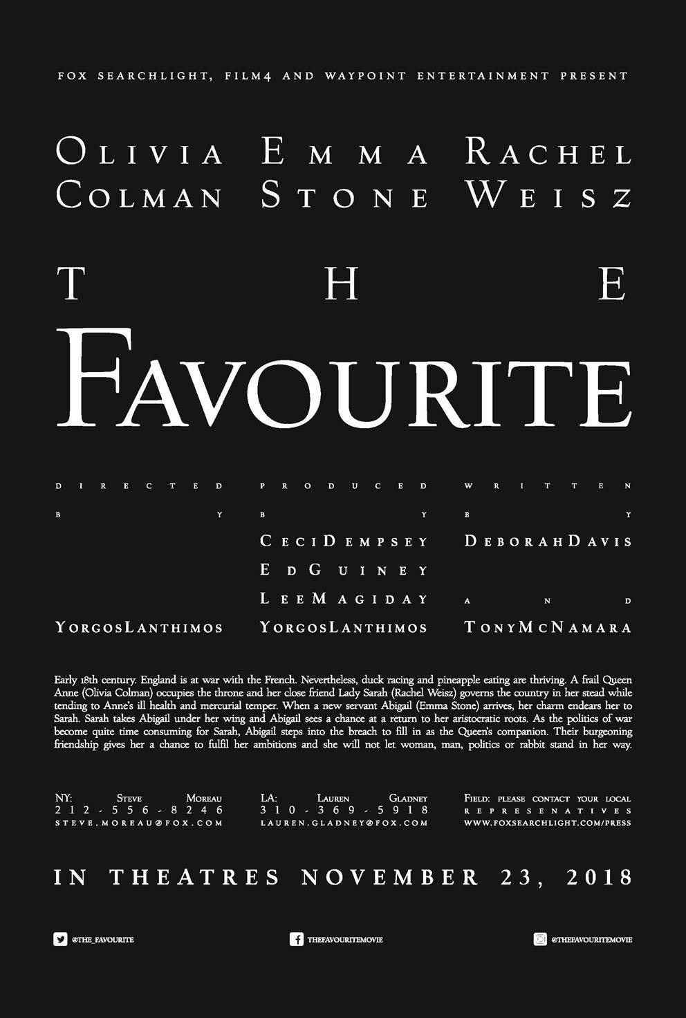 The Favourite. Directed by Yorgos Lanthimos. Typographic ...