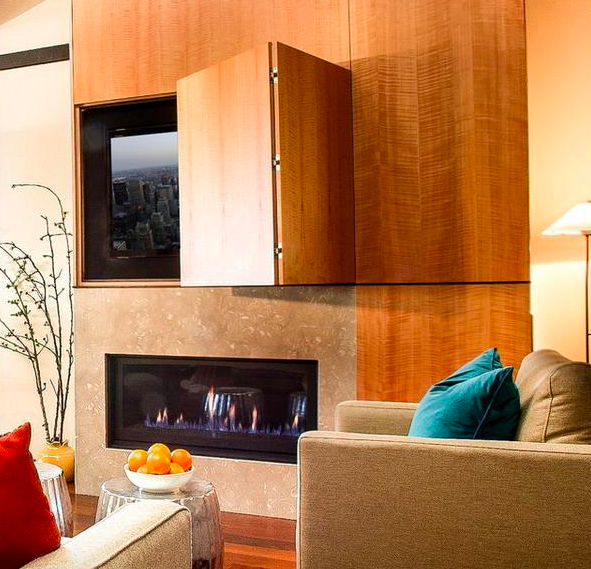 22 Modern Ideas To Hide Tvs Behind Hinged Or Sliding Doors Contemporary Family Rooms Hide Tv Over Fireplace Hidden Tv