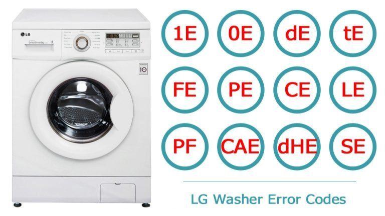 Lg Washer Error Codes Washer And Dishwasher Error Codes And Troubleshooting Lg Washer Error Code Coding