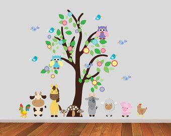 Dieren Stickers Muur.Tree With Farm Animals Wall Stickers Farmyard Wall Decals Tree