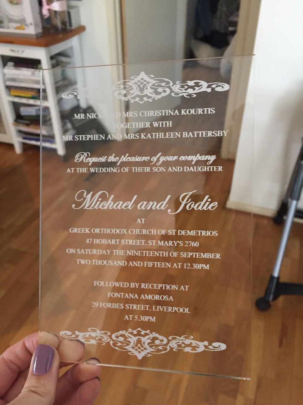 Wedding Invite Clear Plastic