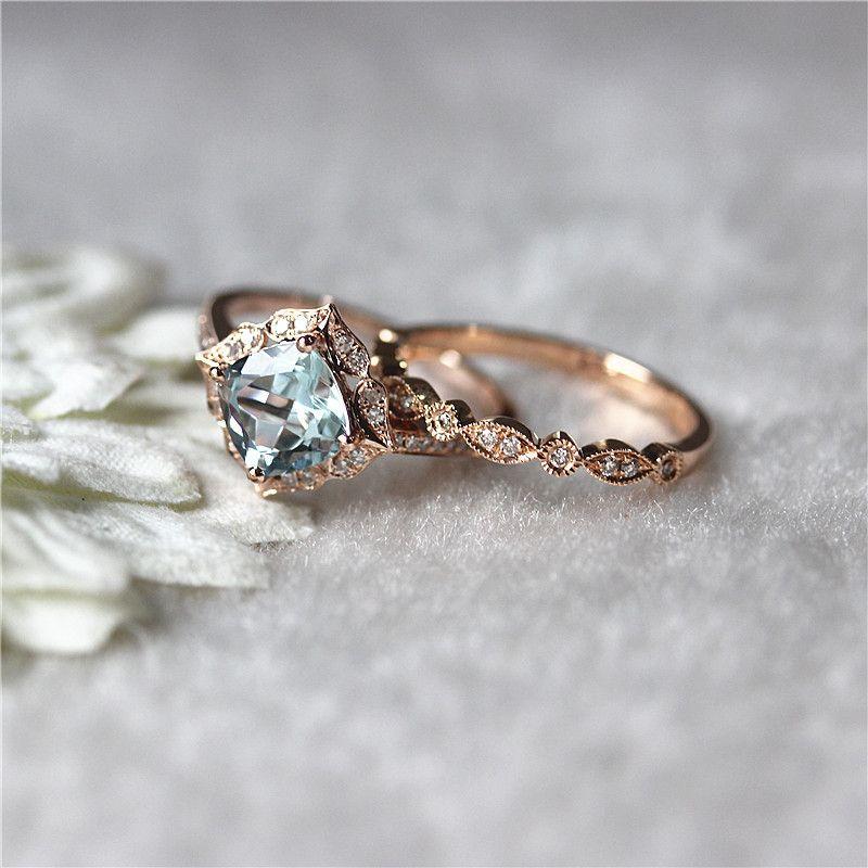 95500 floral aquamarine wedding set 14k rose gold 7mm