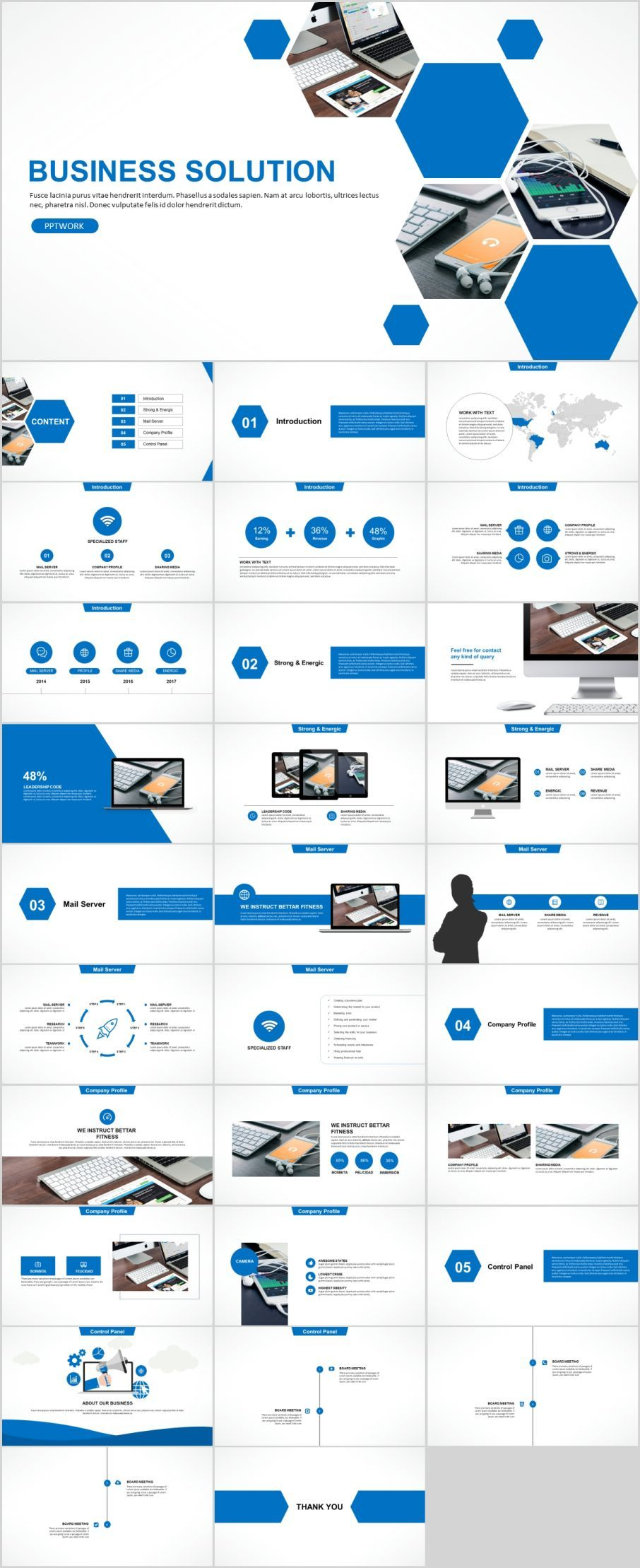 30 blue business solution powerpoint templates microsoft