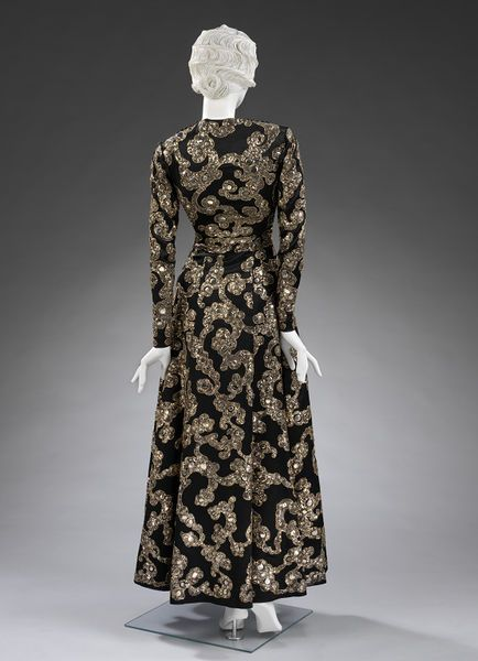 Evening Dress Image 3 Mainbocher 1938 French Satin With Gold And Sequin Embroidery Victoria And Albert Museum Museum N Mainbocher Dresses Fashion