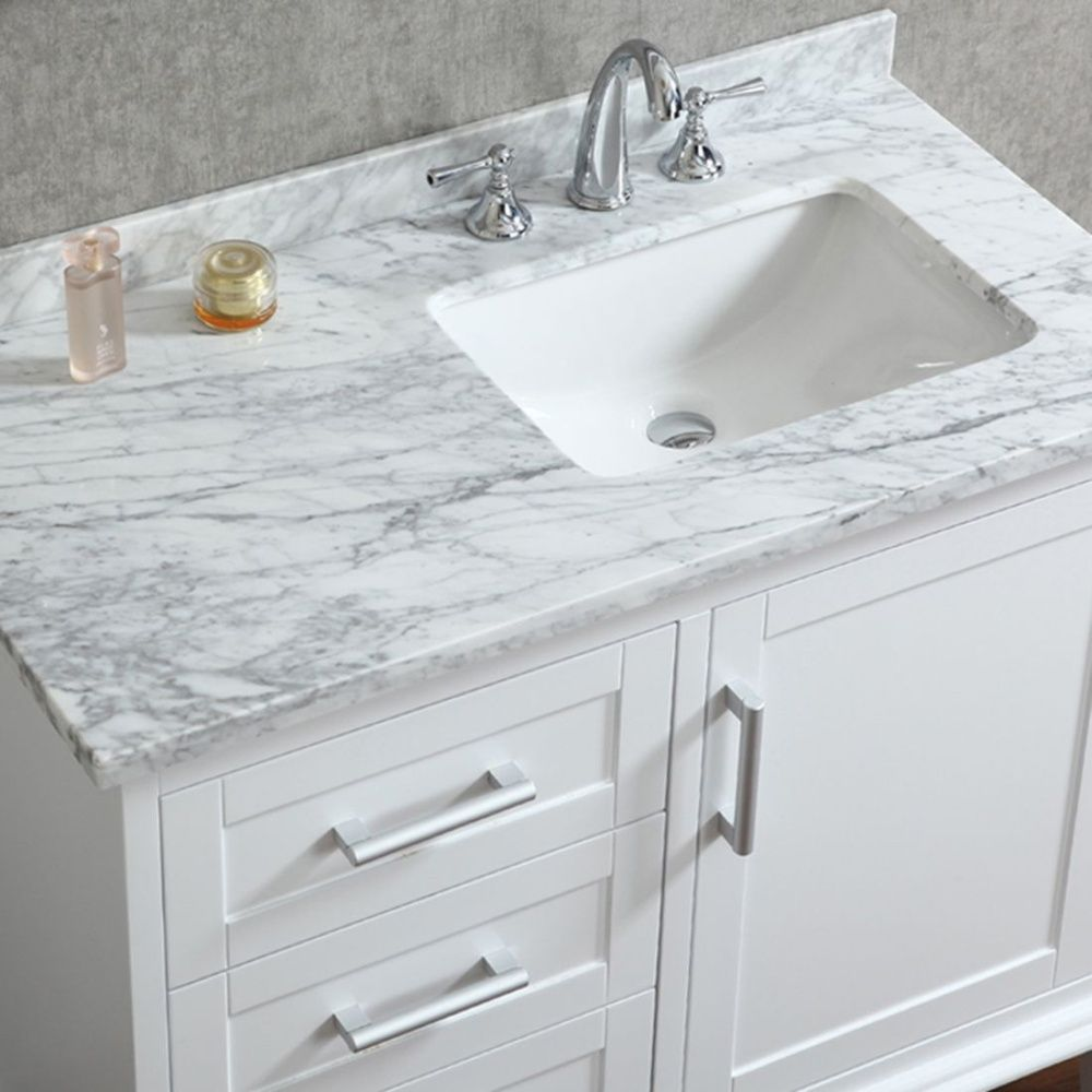 Ace 42 Inch Single Sink White Bathroom Vanity Set With Mirror One Door Soft Closing Hinges Three Drawers Sliders Carrera