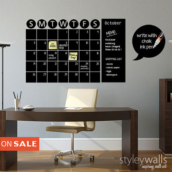 Stay Organized With The Help Of This Chalkboard Wall Calendar