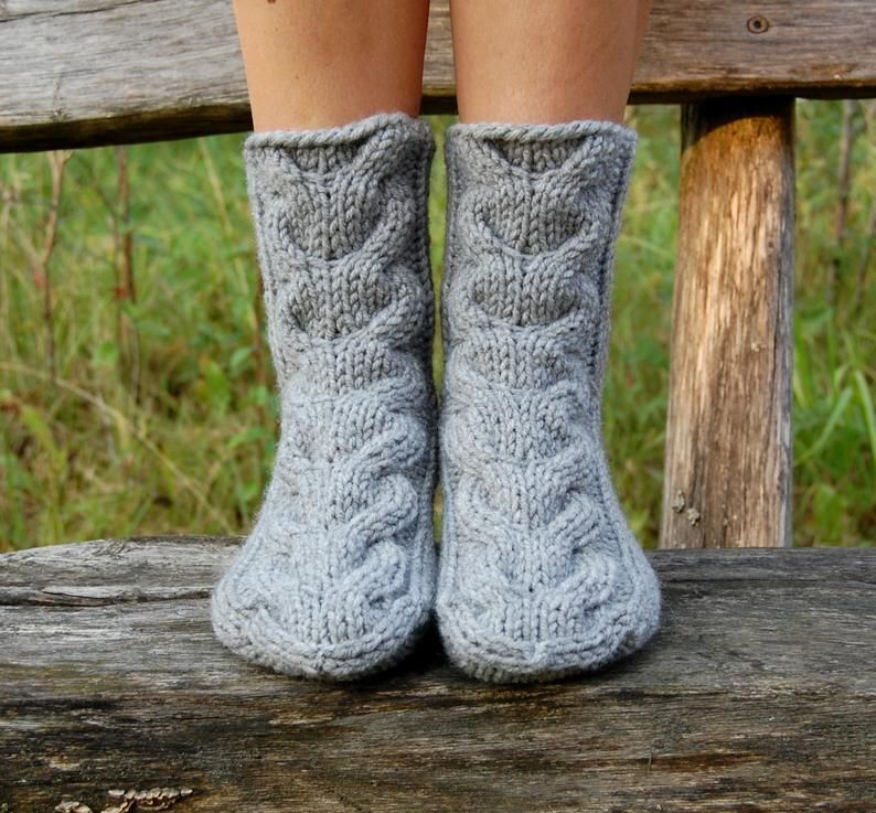 Photo of Slipper Socks, Knit Chunky Slipper Socks, Cable Knit Slipper Booties, Knit Indoor Clogs, Christmas Gift