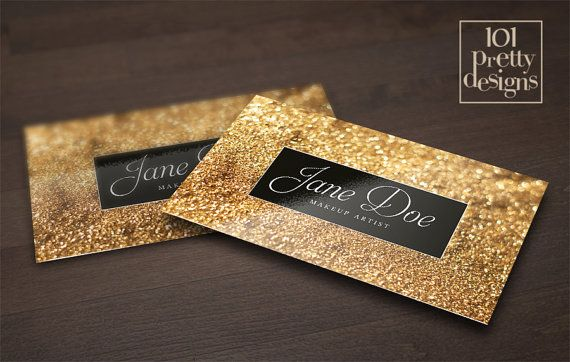 Gold Glitter Business Card Template Makeup Artist Business Card