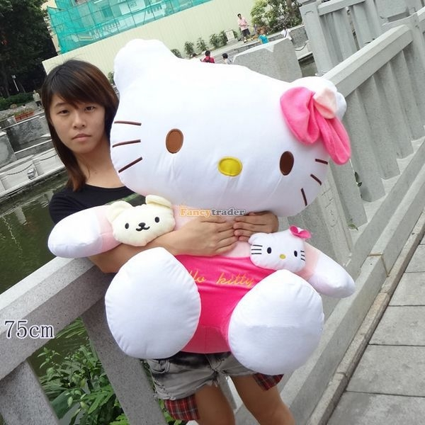 94.50$  Buy here - http://alipsh.worldwells.pw/go.php?t=32321283554 - Fancytrader 2015 New 30'' / 75cm Giant Big Lovely Stuffed Soft Plush Cute Hello Kitty Toy, Nice Gift, Free Shipping FT50721 94.50$