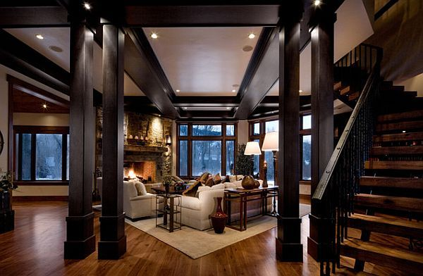 Tricks To Make Your Home Cozier Dark Living Rooms Staircases - Cozy wooden house