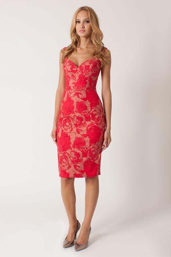 8a9cd33e Black Halo Lace Ally Sheath Dress in La Vie Red | Dresses