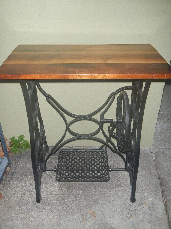 Vintage New Home Cast Iron Treadle Sewing Machine Base Antique Table Base With Wood Top Garden Lawn Decor Porch O Antique Table Lawn Decor Antique Sewing Table