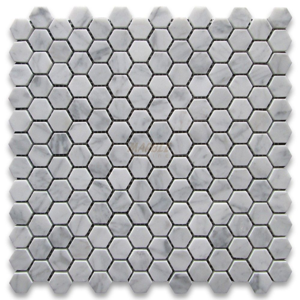 Carrara White 1 Inch Hexagon Mosaic Tile Polished Marble