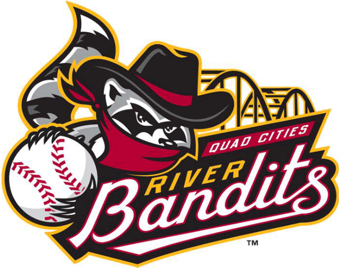 Quad Cities River Bandits Primary Logo (2014) - Previous logo updated to include two archways of the Centennial Bridge
