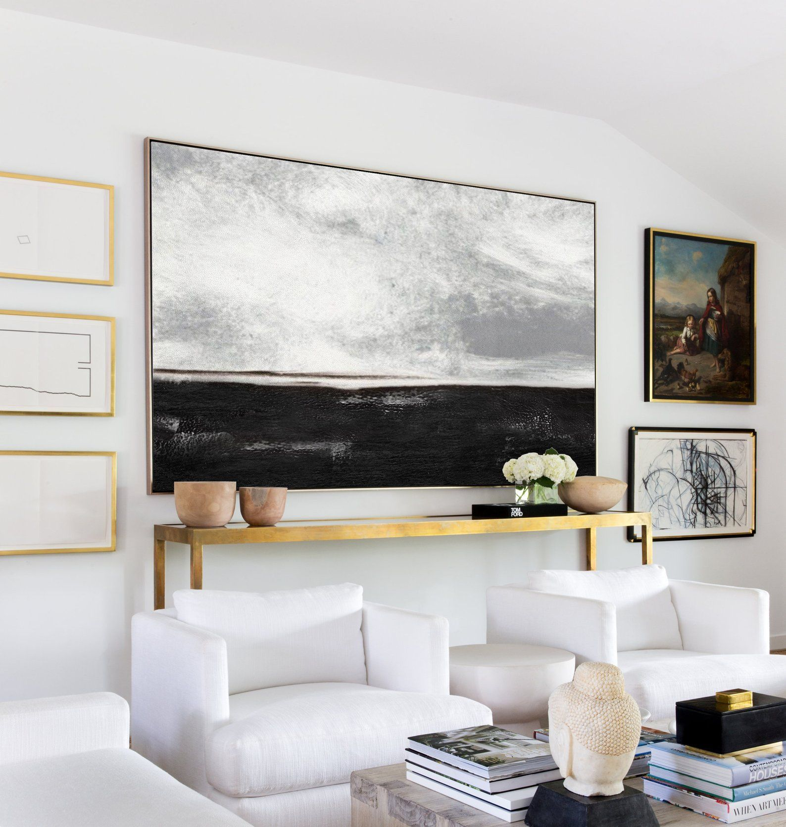 Black White Painting,Large Abstract Painting, Landscape, Horizontal Wall Art,Handmade Large Wall Art,Wall Decor Art, Large Canvas Art#abstract #art #arthandmade #artwall #black #canvas #decor #horizontal #landscape #large #painting #paintinglarge #wall #white