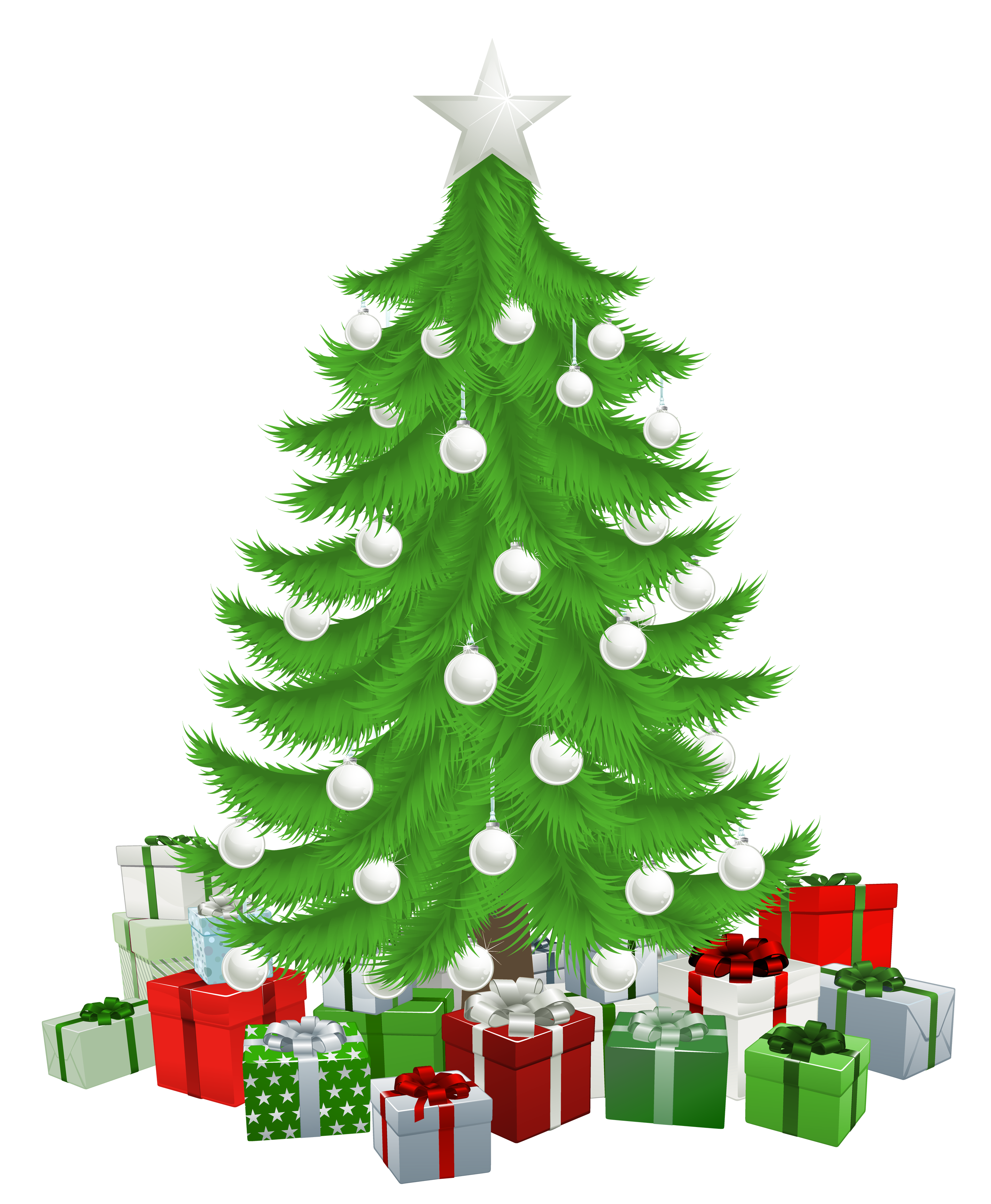 Transparent Christmas Tree with Presents Clipart Picture