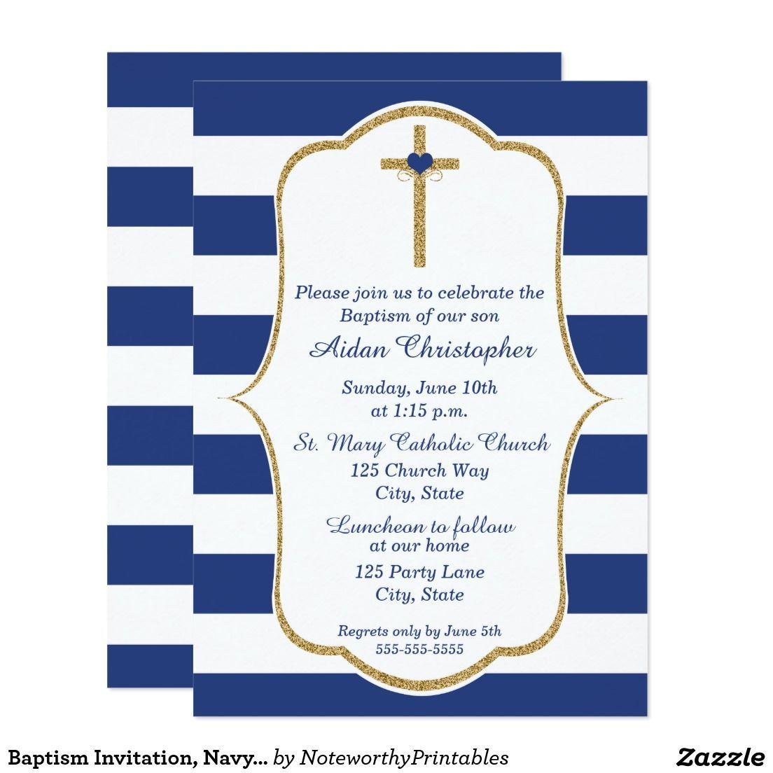 Baptism Invitation, Navy And Gold Christening Card