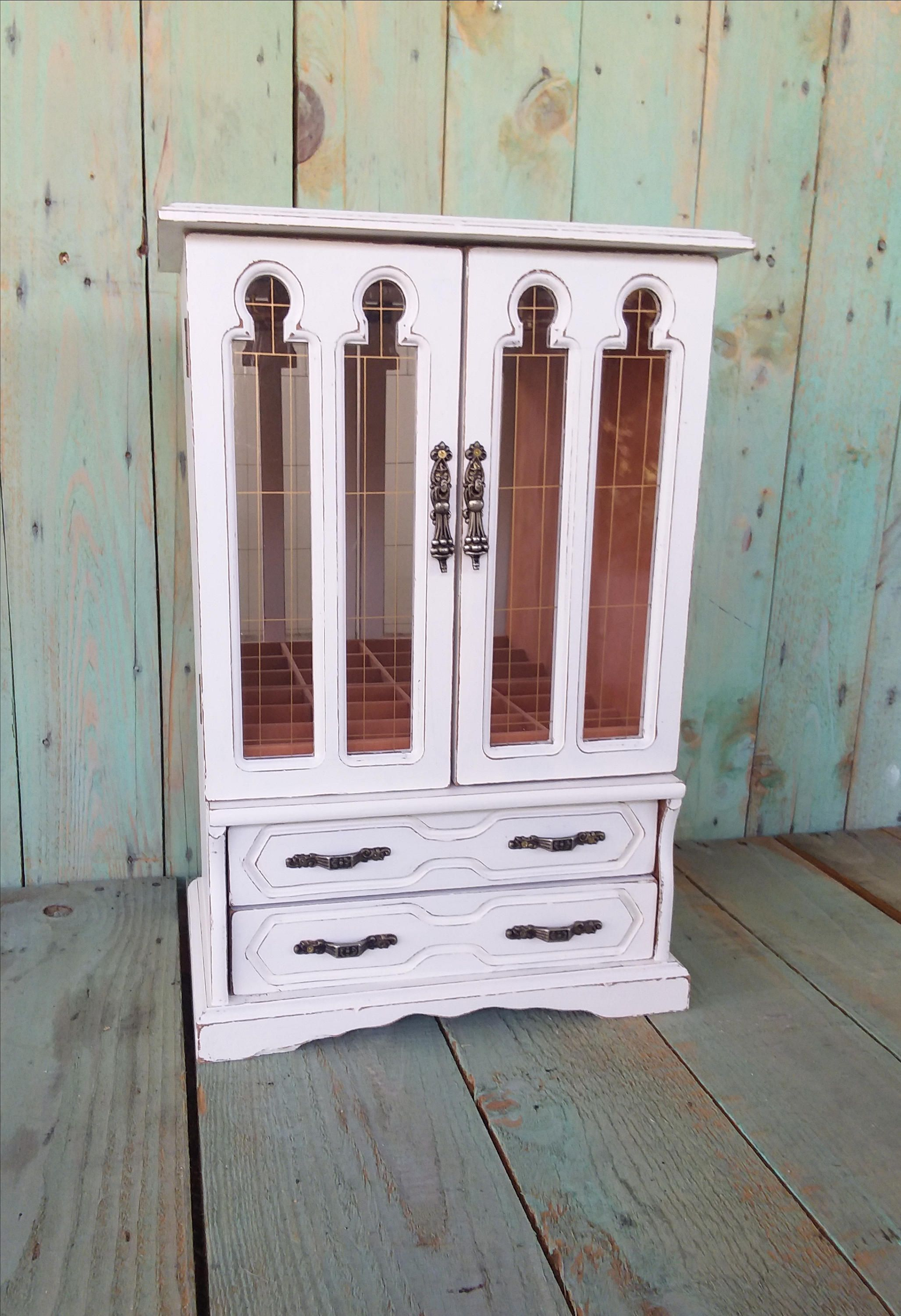 Large Vintage Shabby Chic Rustic Wooden Jewelry Box Armoire Painted Antique White  Distressed Upcycled Refurbished By