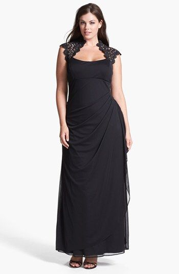 Xscape Lace Yoke Mesh Gown (Plus Size) available at ...