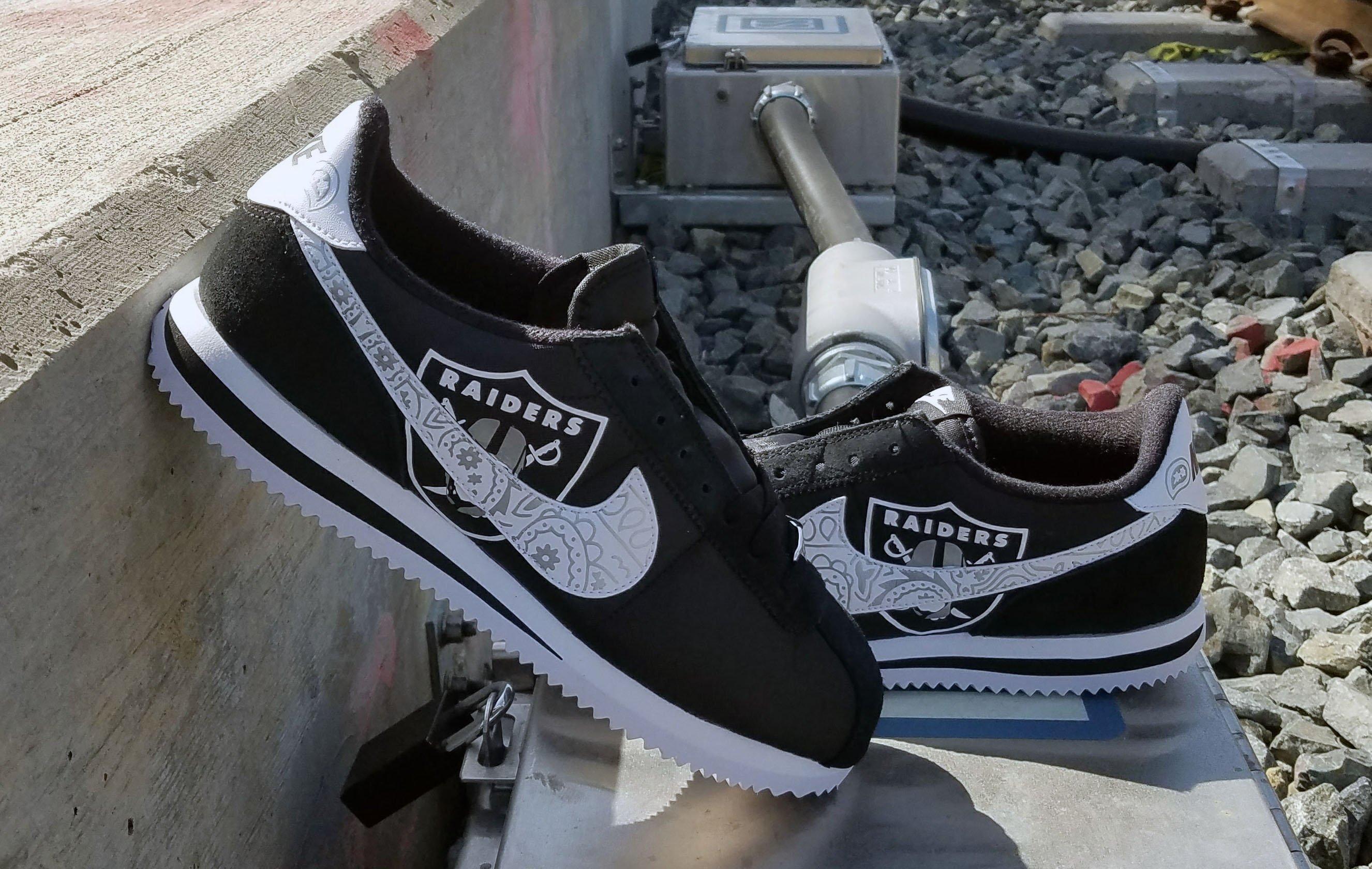 dd650f92 Bandana Fever Bandana Oakland Raiders Big Print Custom Black/White Nike  Cortez Shoes #sneakers #trending #sports #mensfashion #art #sportsaction  #fashion ...