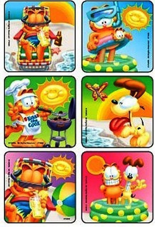 6 x Square Stickers ~ Garfield Odie Summer Pool BBQ Kiss the Cook Swimming ~