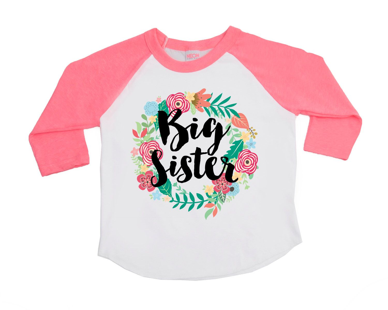 Sister Big Sister T-shirt with Unicorn Floral Wreath Pregnancy Announcement Shirt Surprise Big Sister Shirt Floral Big Sister T-Shirts