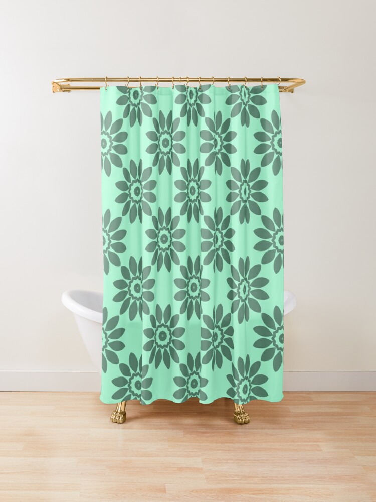 Teal Green Floral Geometric Pattern Shower Curtain By Barabolka