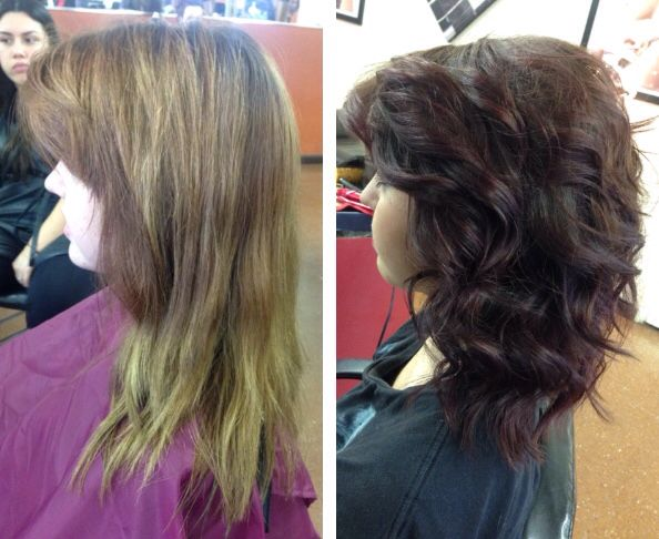Before and after, red violet hair color