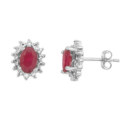 14k White Gold Ruby And Diamond Earrings Learn More Http