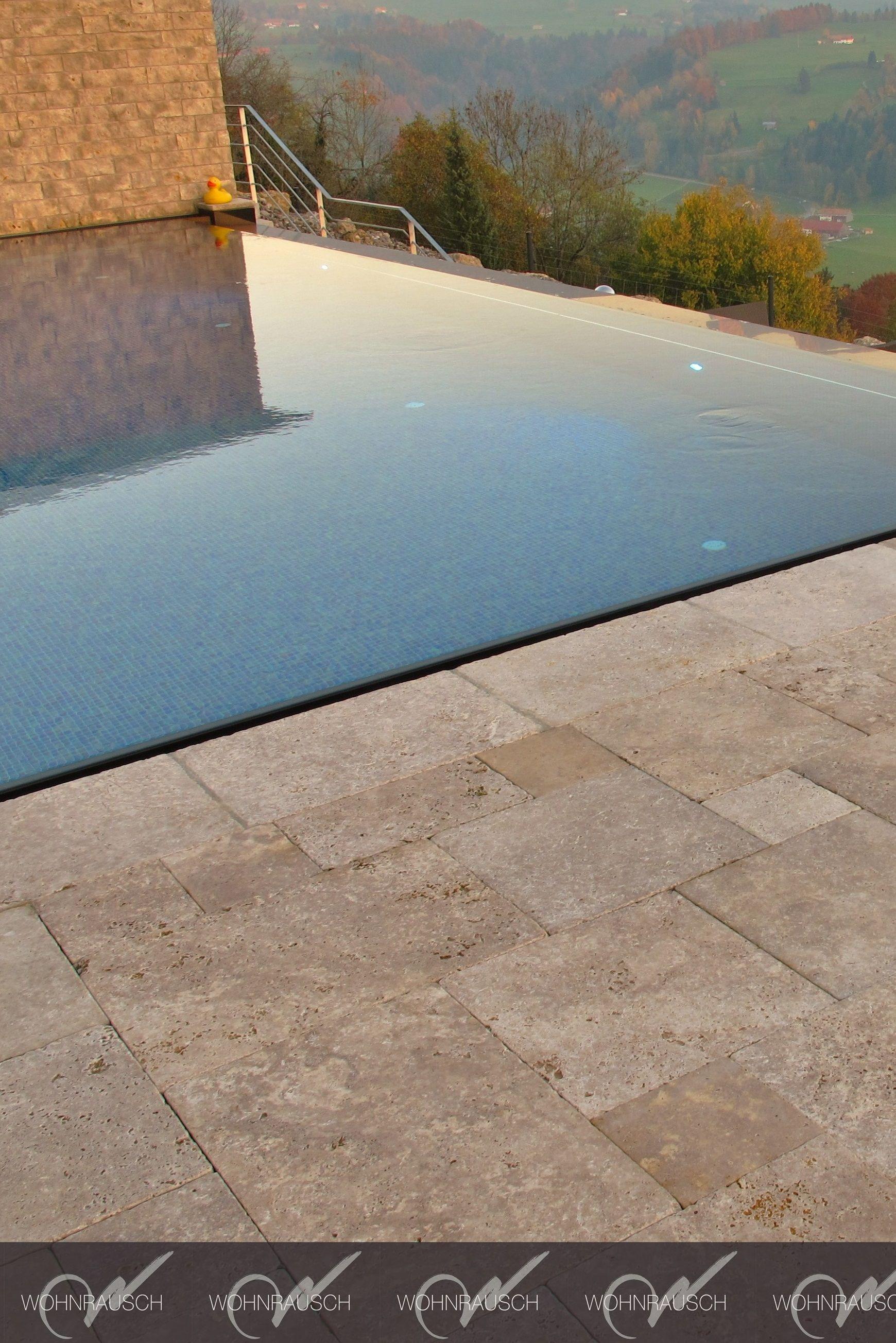 Travertin Terrassenplatten Noce Verlegt Im Romischen Verband