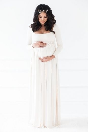 5f362410a78 High Quality White Maternity Dress For Baby Shower