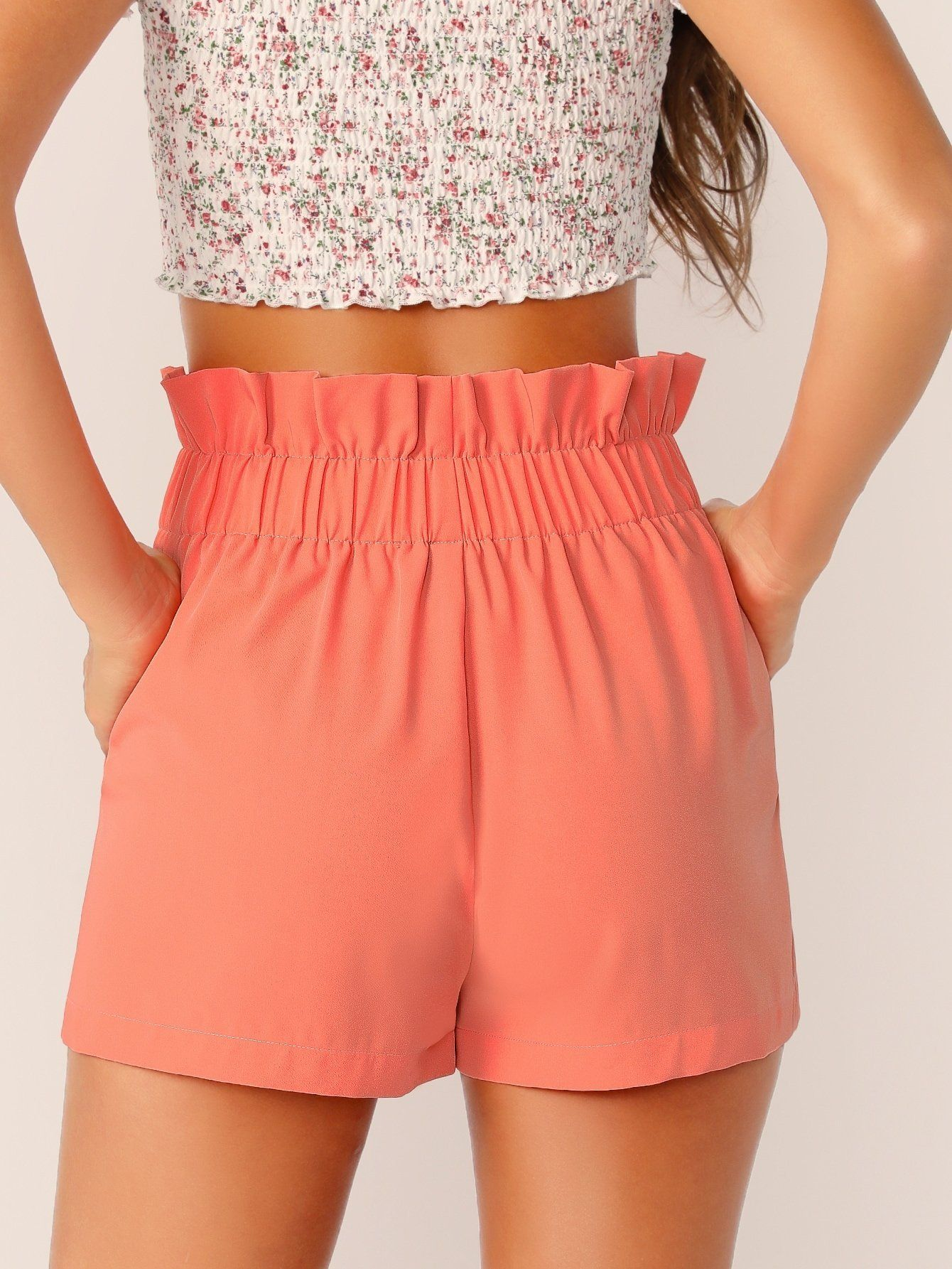 SHEIN Paperbag Lace-up Waist Slant Pocket Shorts #shortslace