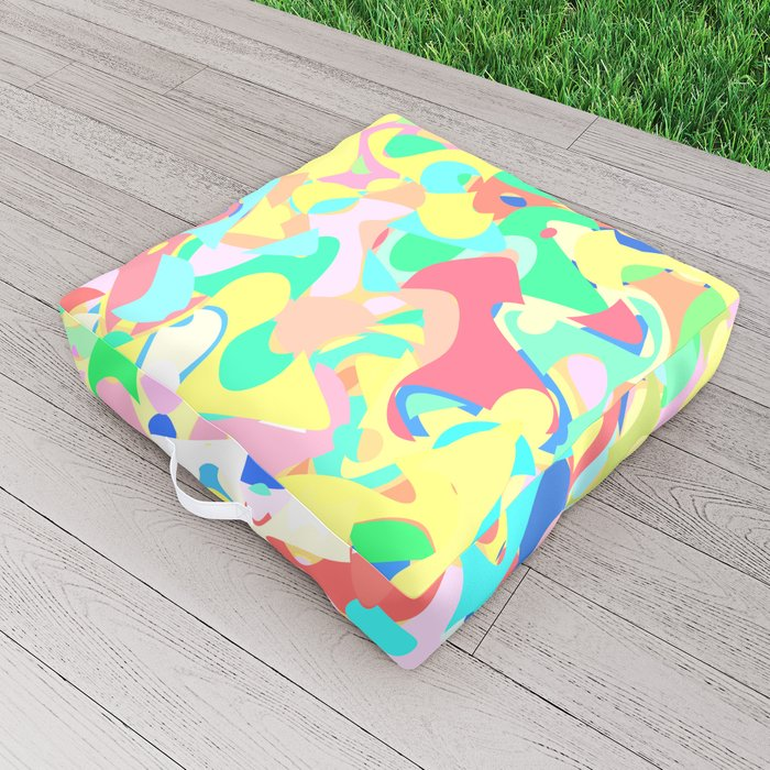 Chaotic vision, vibrant colors and shapes, funny mess Outdoor Floor Cushion by kinkdesign