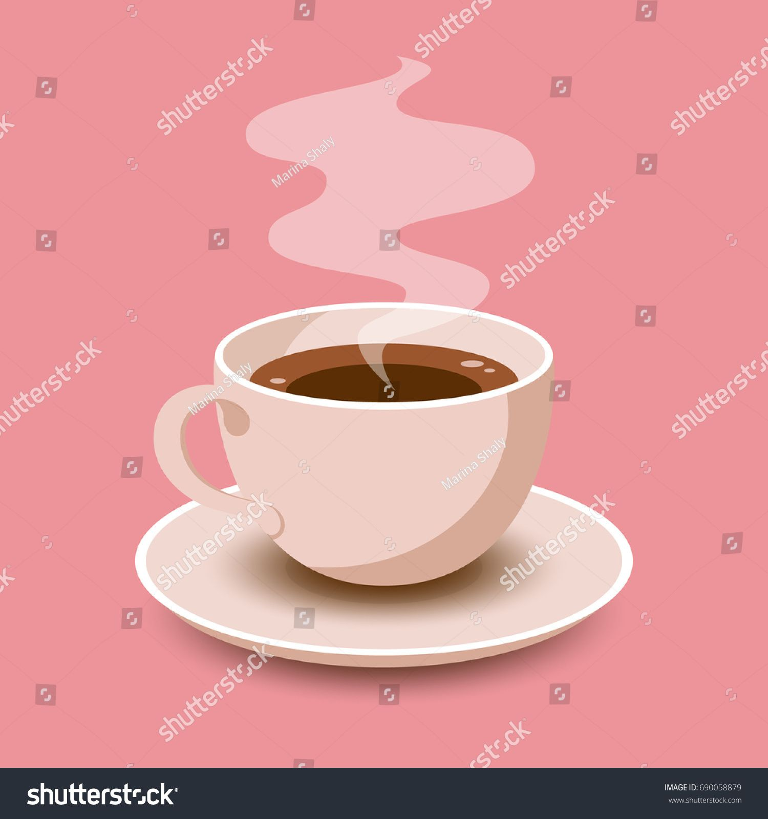 Cup of Fresh Coffee. Vector Illustration. Flat Style