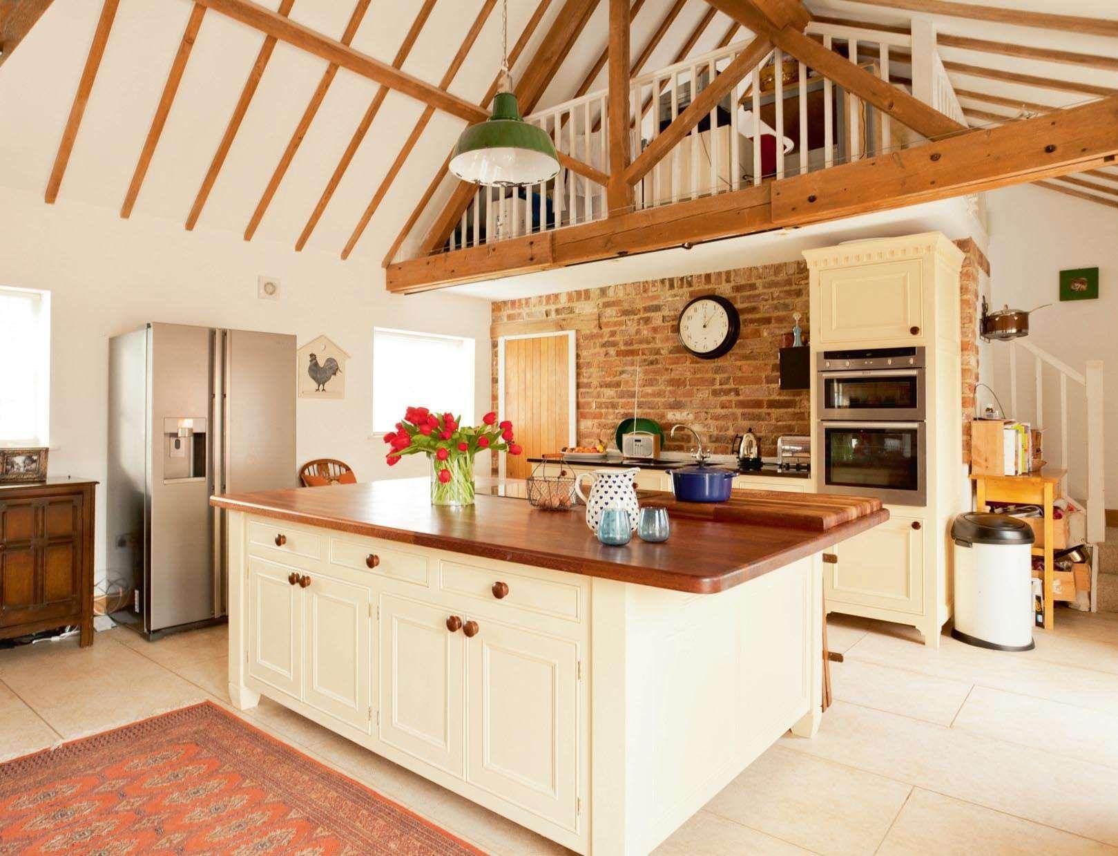 Barn House Kitchen Mahogany Cabinets Conversion Home Ideas Decor Barndominium