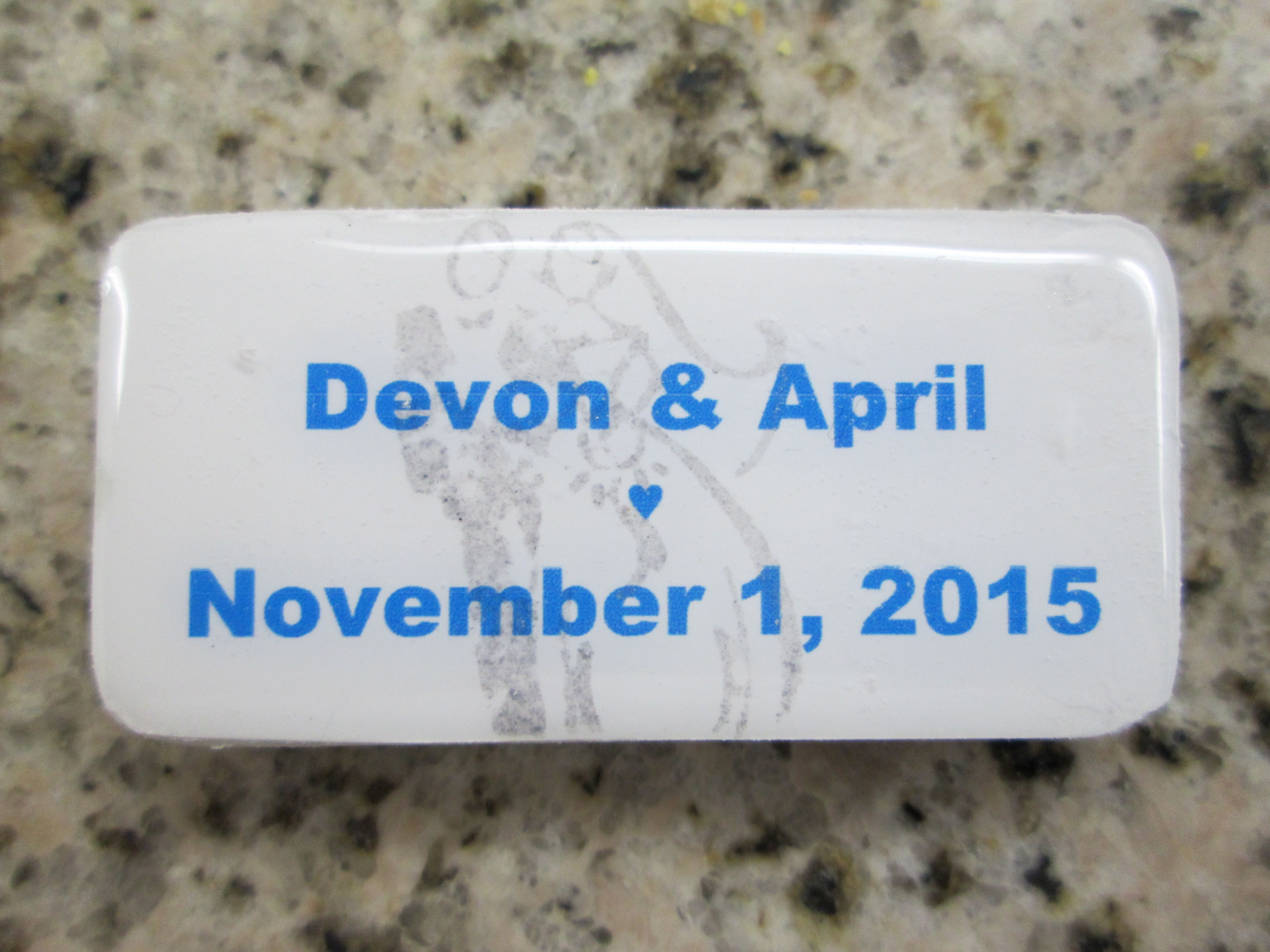 Wedding favor magnet, made from a domino | Personalized Wedding ...