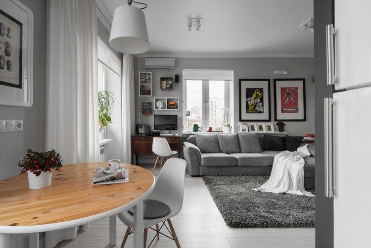 Neu wohnzimmer esszimmer gestaltung fotografie terrazas in kleines wohn graues sofa shaggy - Minimalistisches wohnzimmer ...