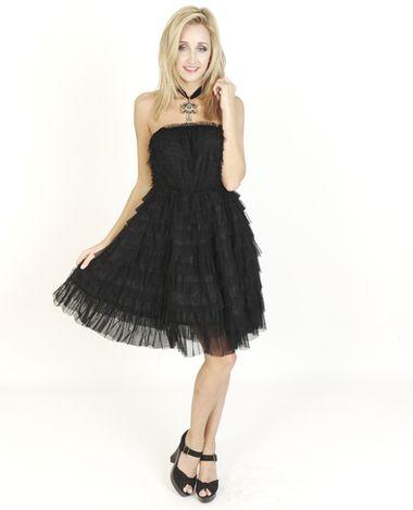 Black Dresses - Ruffle Strapless Party Black Dress - http://www.blackdresses.co.uk/