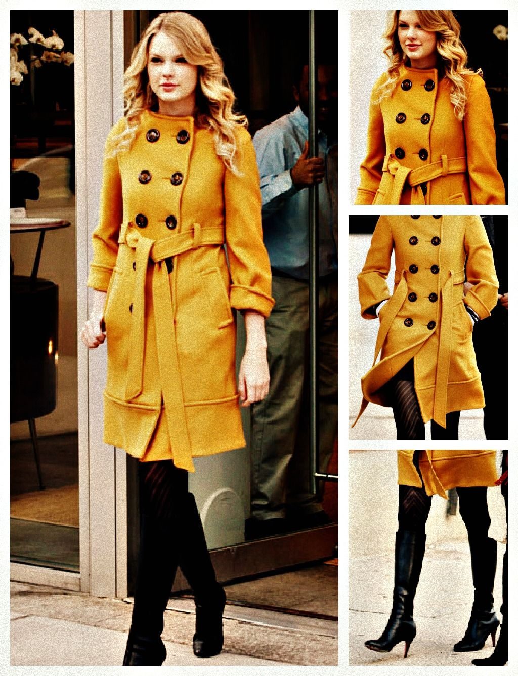 Top 5 favourite Taylor Swift outfits  Candids -January 12, 2009    Kate Spade coat  Urban Outfitters tights  Christian Louboutin boots
