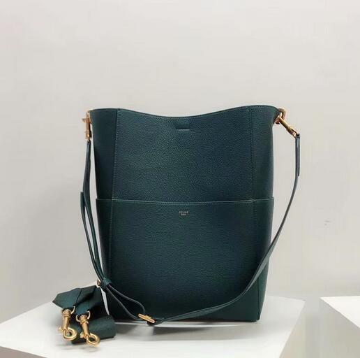 57a8115787b0 Celine bags 2018 Celine Sangle Large Bucket Bag In Soft Grained Calfskin  GREEN