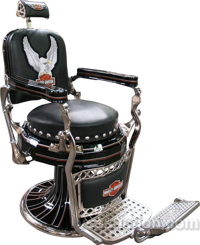 Paidar Barber Chair Restored In Harley Davidson Motorcyle Style $4000